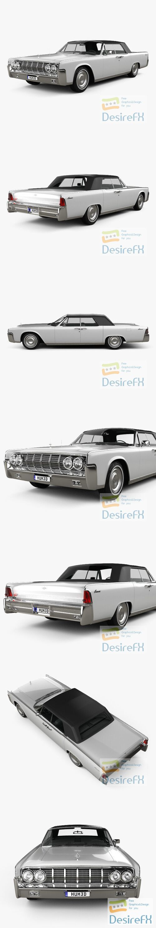 Lincoln Continental convertible 1964 3D Model