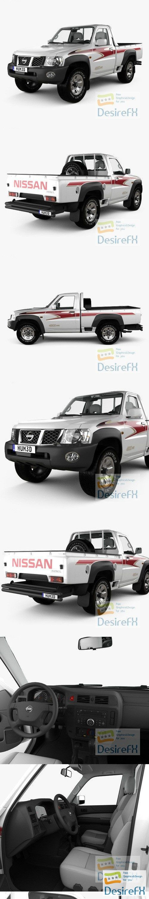Nissan Patrol pickup with HQ interior 2016 3D Model