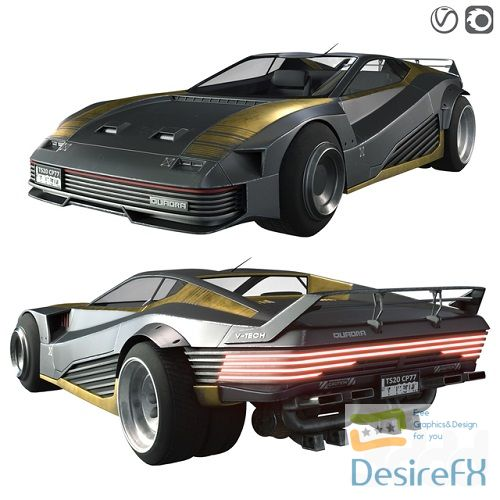 Quadra V-Tech sportcar from Cyberpunk 2077 3D Model