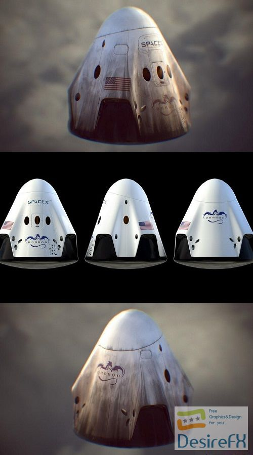 SpaceX Dragon-2 Ship 3D Model