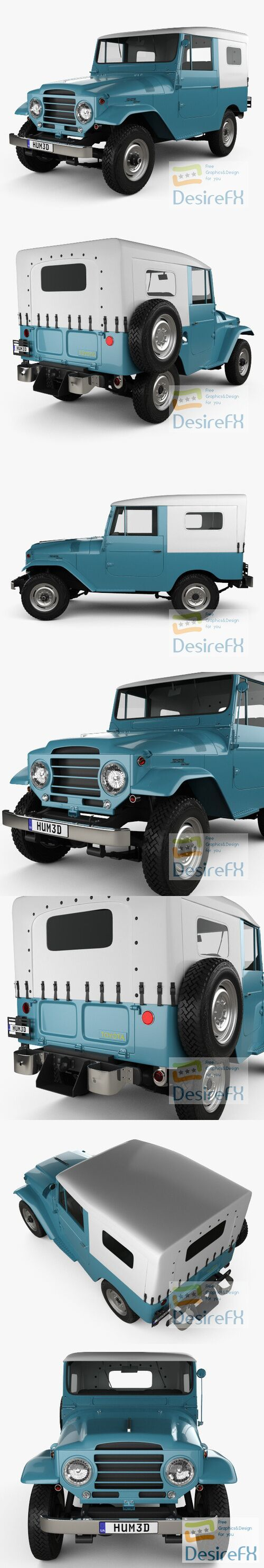 Toyota Land Cruiser softtop 1958 3D Model
