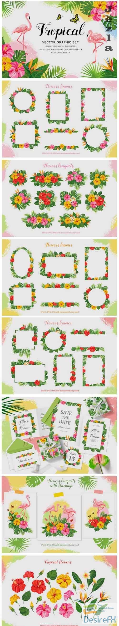 Tropical vector graphic set - 704337