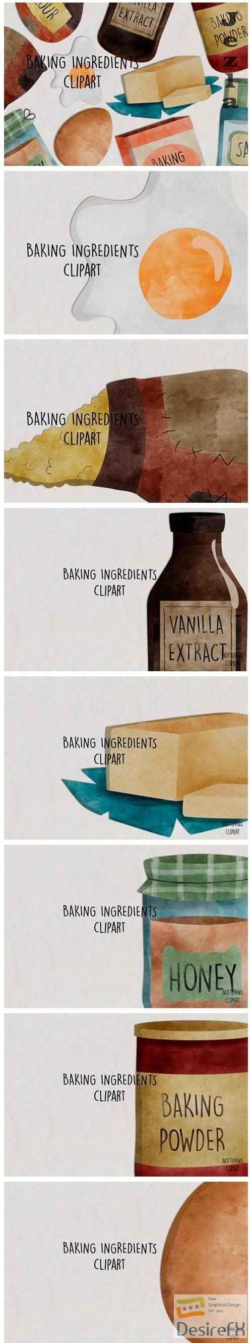 Watercolor Baking Ingredients Clip Art - 566282
