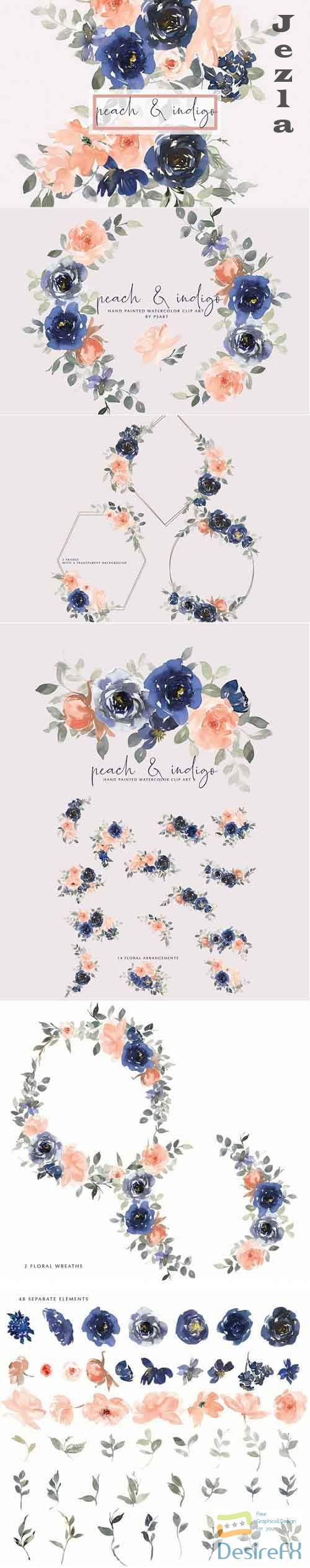 Watercolor Indigo and Peach Floral Bouquet Clipart - 661647