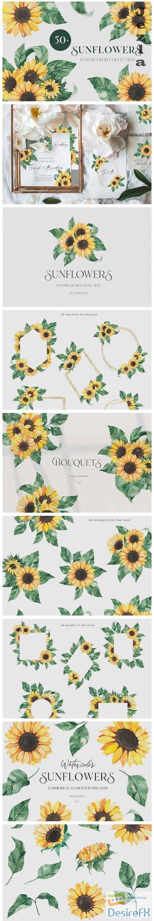 Watercolor Sunflowers collection - 5074626