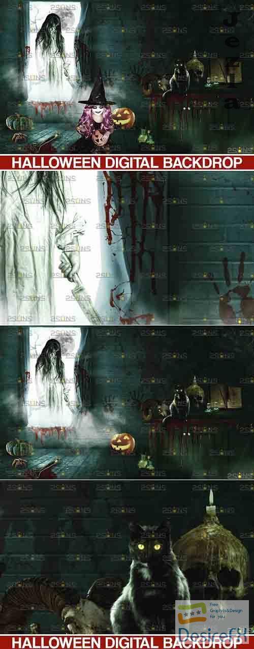 Halloween Backdrop & Scary Photoshop overlay - 735881