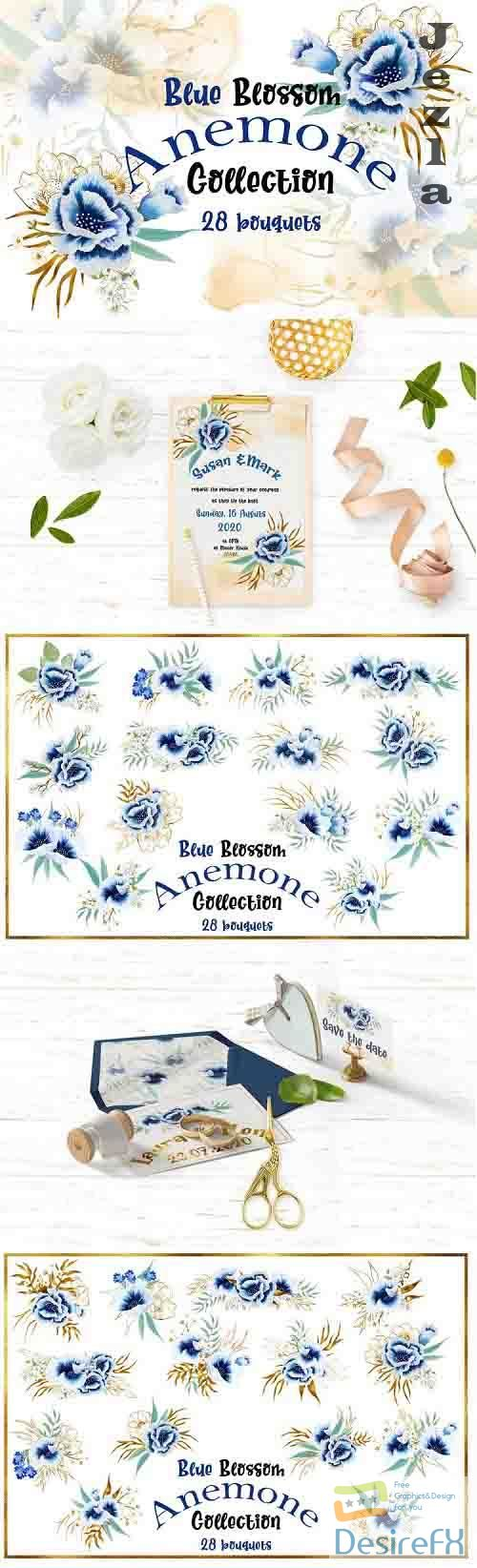 Watercolor Hand Painted Anemone Bouquets for Invitatios - 782780