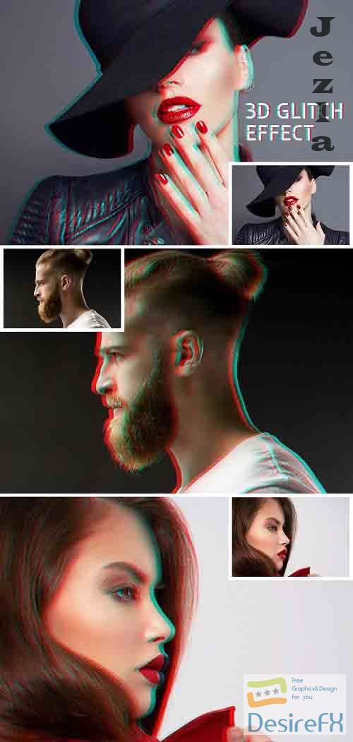 Glitch Photo Effect Mockup 364810692