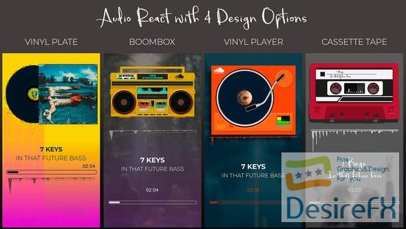 Videohive Audio React Spectrum Visualizer with Boombox, Cassette Tape, Vinyl Plate and Vinyl Player Equalizer 24651035