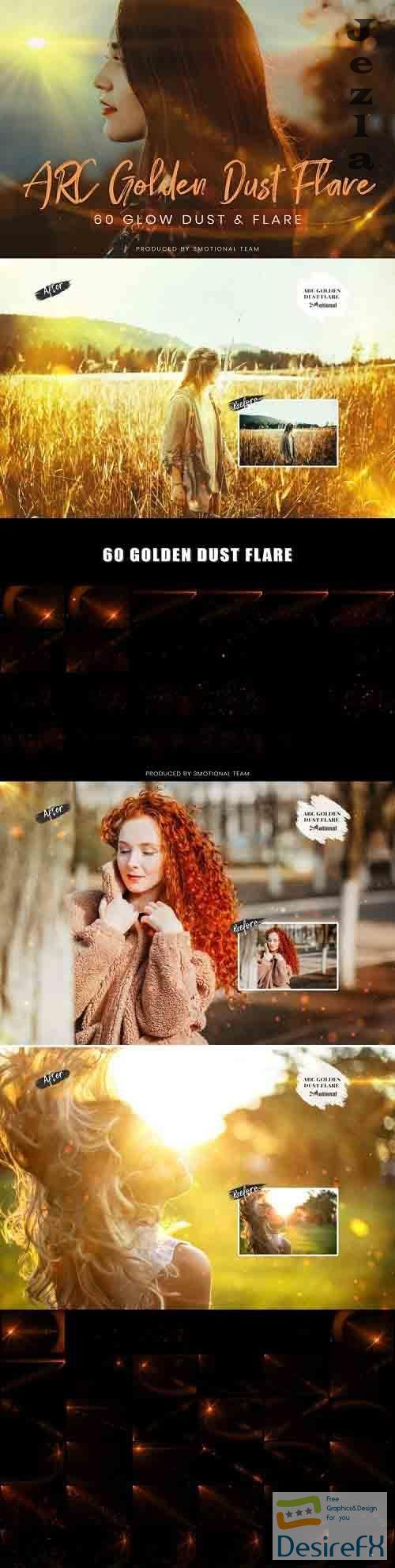 60 ARC Golden Dust Flare Effect Photo Overlays - 735158
