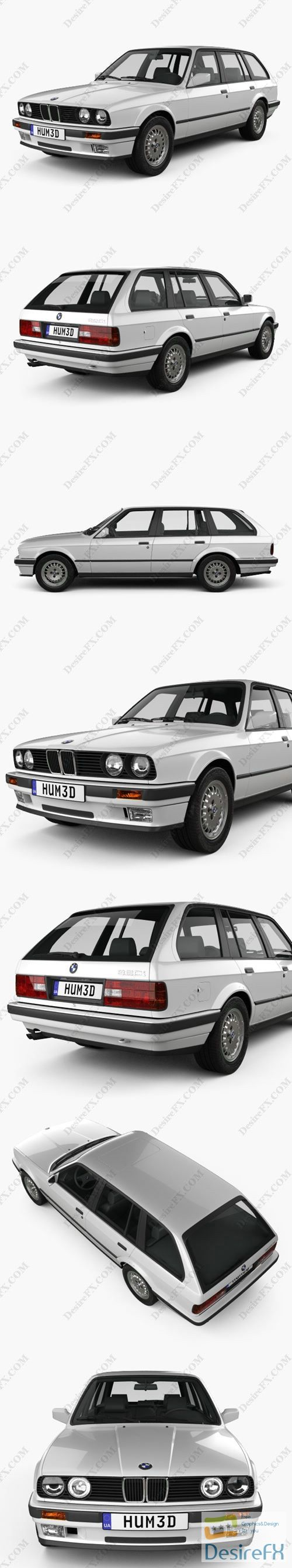 BMW 3 Series touring 1990 3D Model
