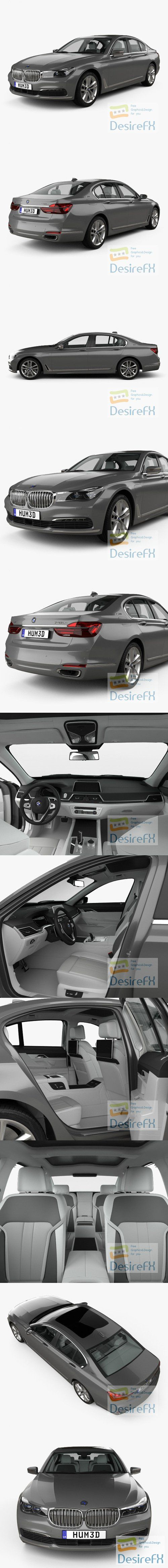 BMW 7 series Le with HQ interior 2015 3D Model
