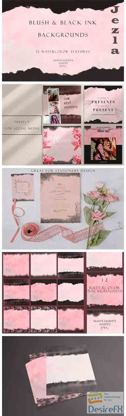 Blush and ink watercolor backgrounds - 5173026