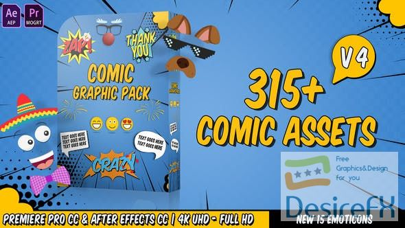 Videohive Comic Titles - Speech Bubbles - Emoji - Stickers - Flash FX Graphic Pack V4 22645319