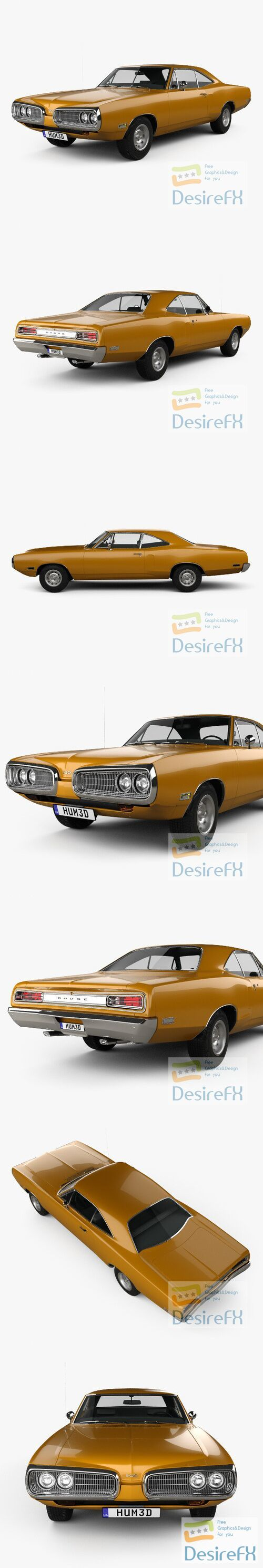 Dodge Coronet hardtop coupe 1970 3D Model