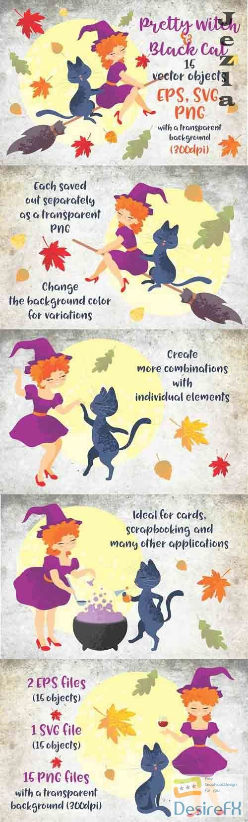 Pretty witch and black cat. Halloween clip art - 746504