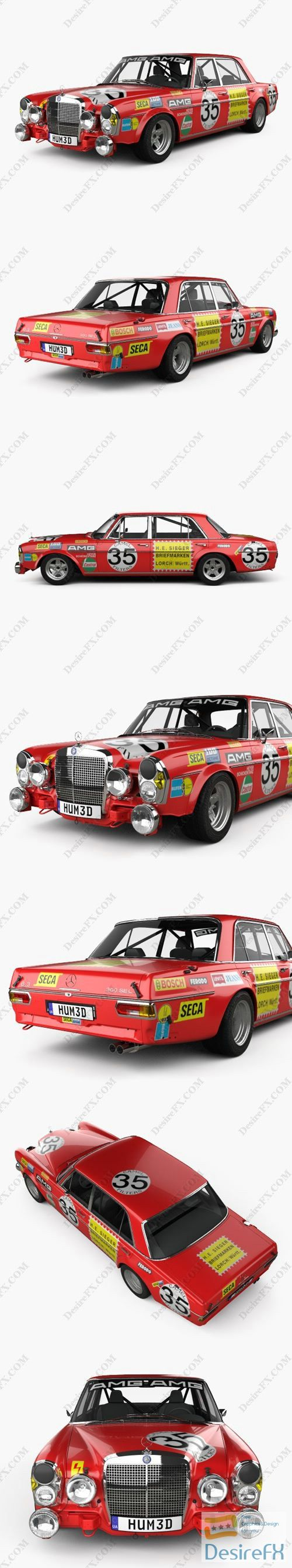 Mercedes-Benz 300 SEL AMG Red Pig 1969 3D Model