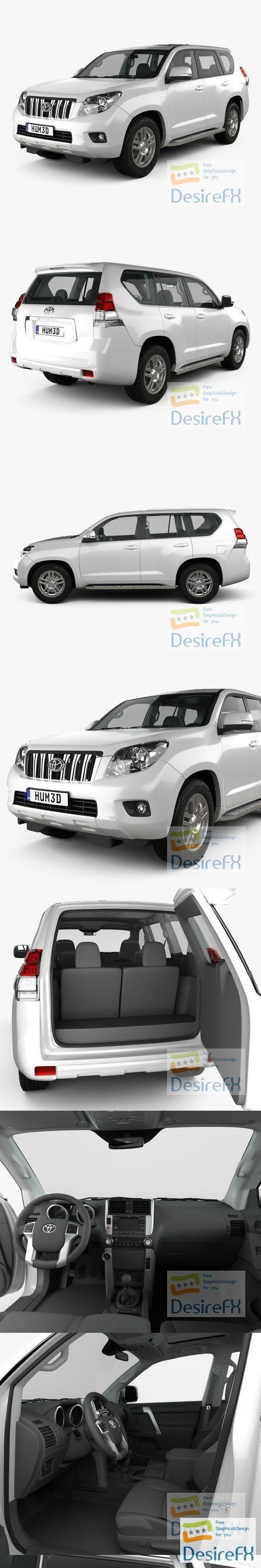Toyota Land Cruiser Prado 5-door with HQ interior 2010 3D Model