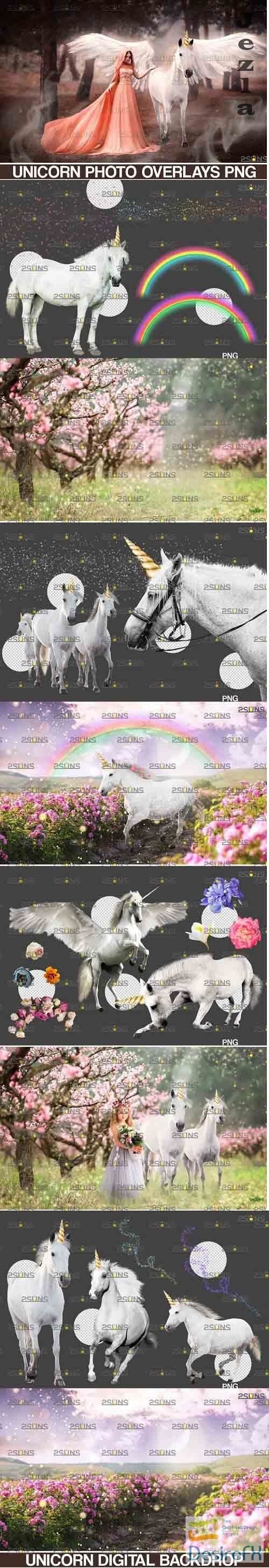 Unicorn overlay & Flower backdrop, White Horse png overlays - 738327