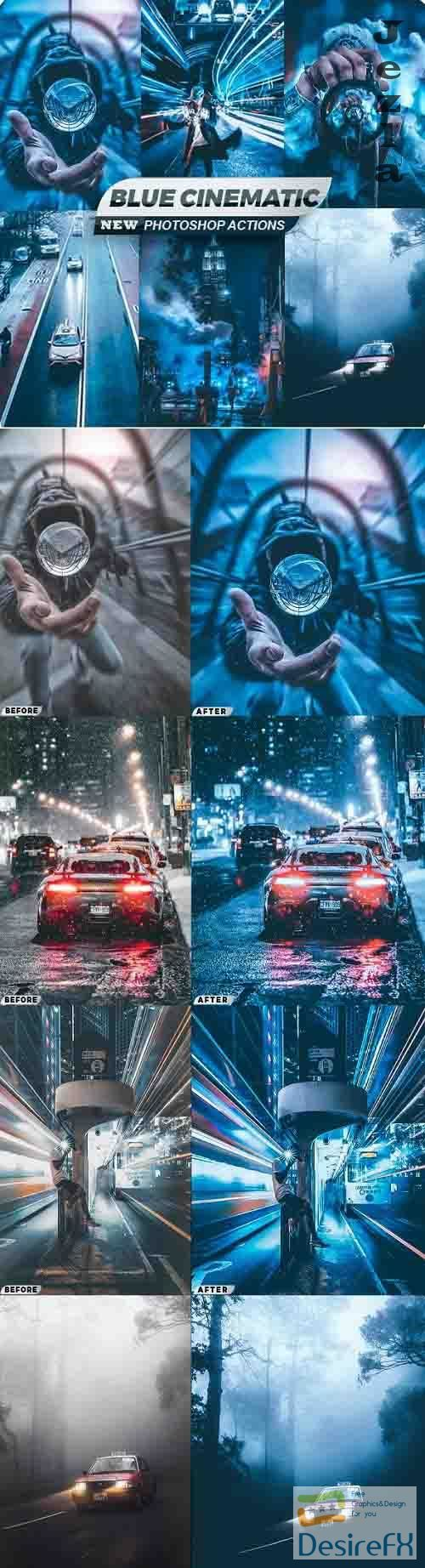 Blue Cinematic City Photoshop Actions 26544127