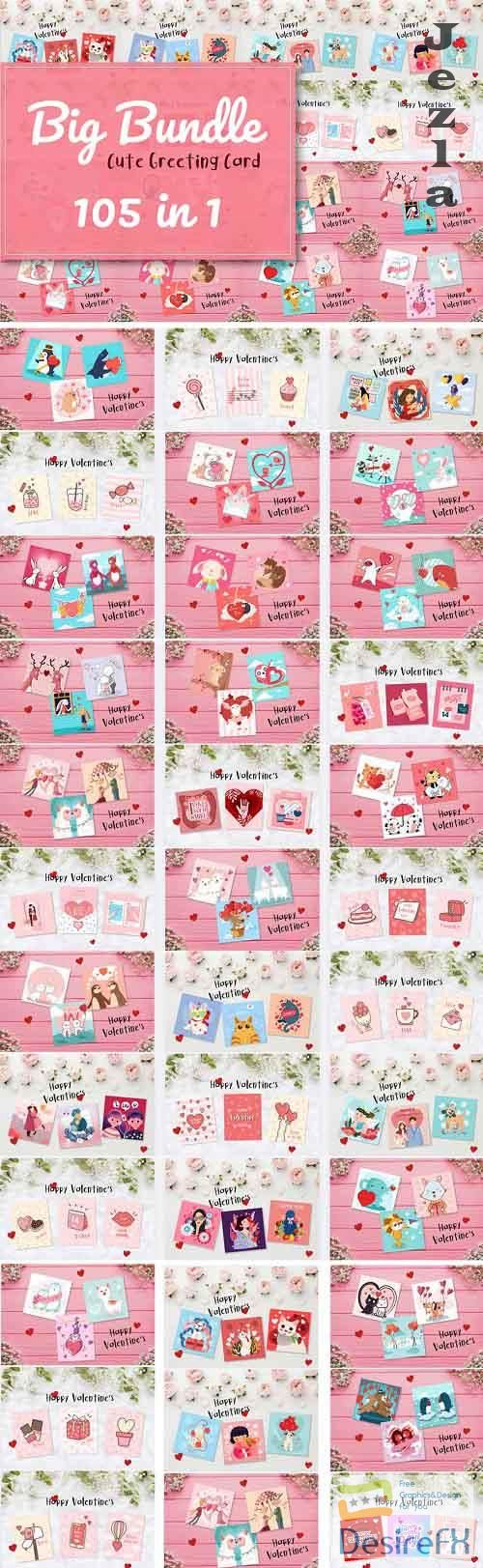 The Cute Greeting Card Bundle - 35 Premium Graphics