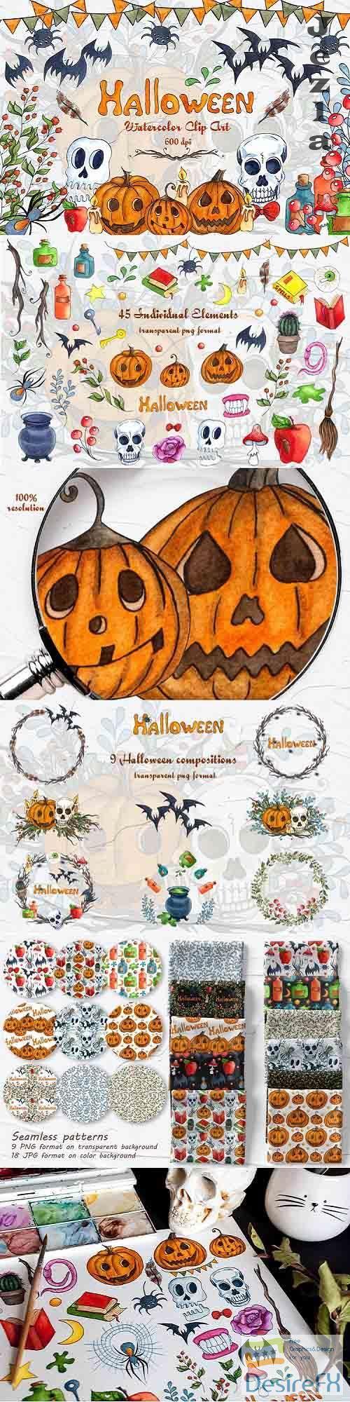 Halloween Watercolor Clipart - 803947
