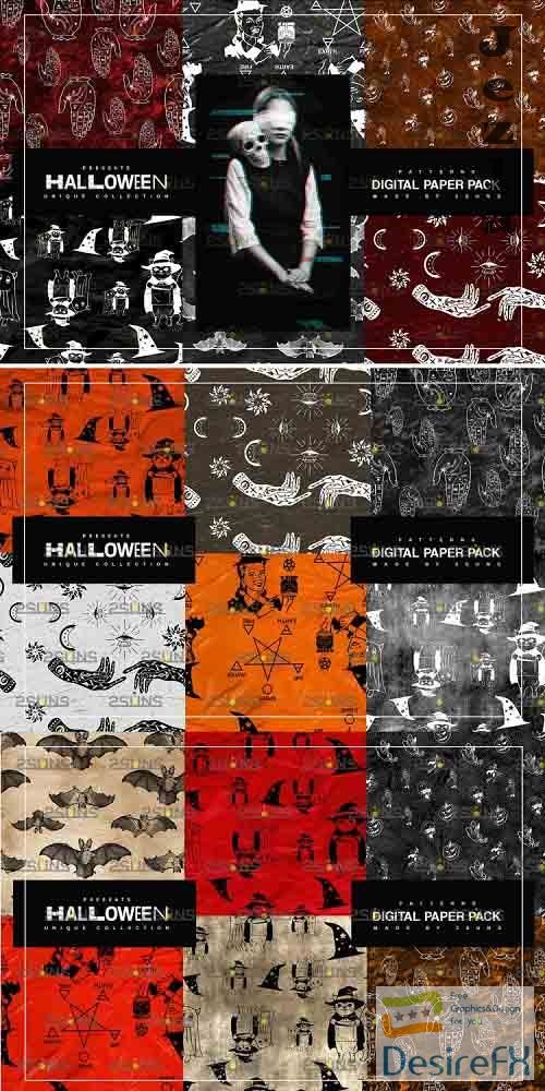 Halloween Digital Paper, Halloween Horror Witch Skulls Ghost - 781915