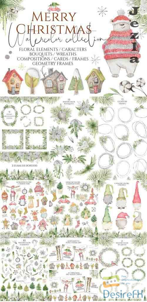 Christmas Watercolor Caracters - 5262121