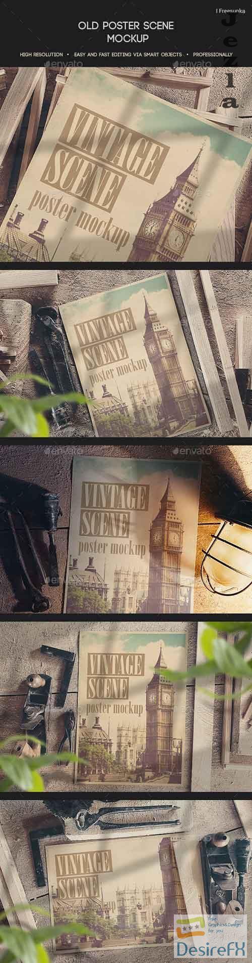 Old Poster Scene Mockup - 27450059