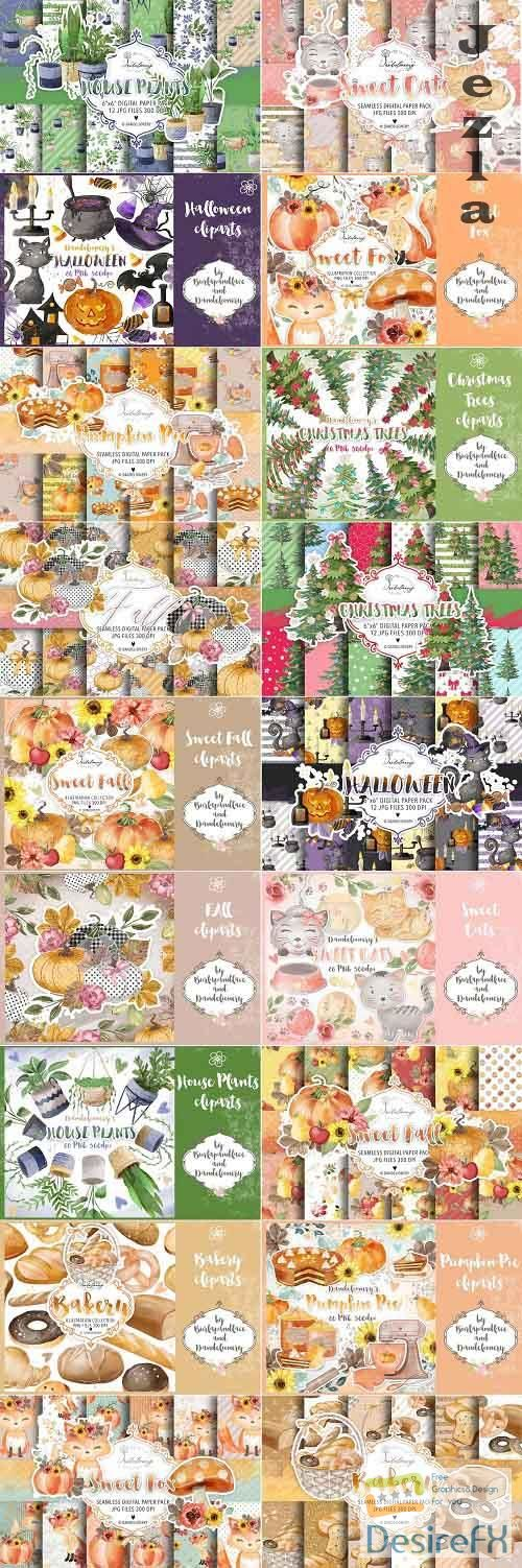 Digital Clipart and Paper pack Bundle - Bakery, Halloween, Christmas Trees, Home plant, Sweet Cats, Pumpkin Pie, Autumn leaves