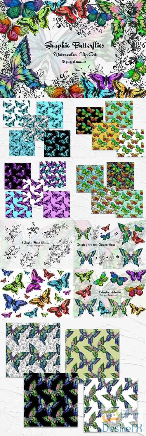 Graphic Butterflies Clip Art - 538169