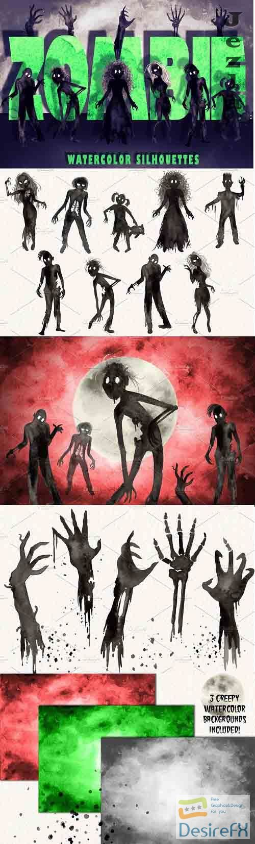 Watercolor Zombie Silhouettes - 5265161