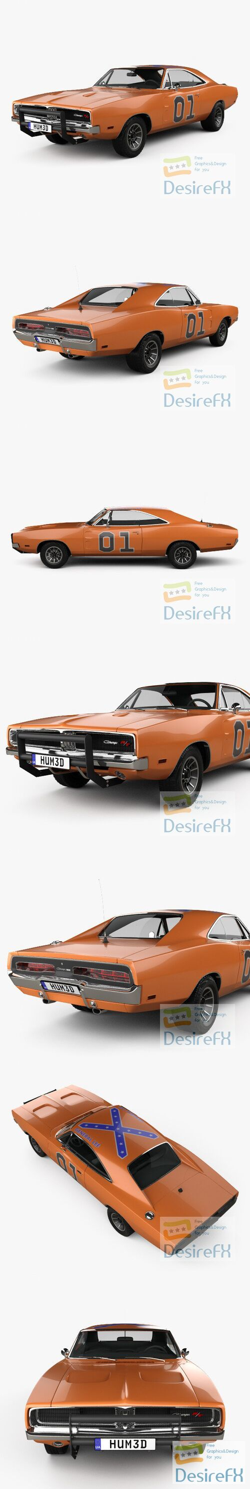 Dodge Charger General Lee 1969 3D Model