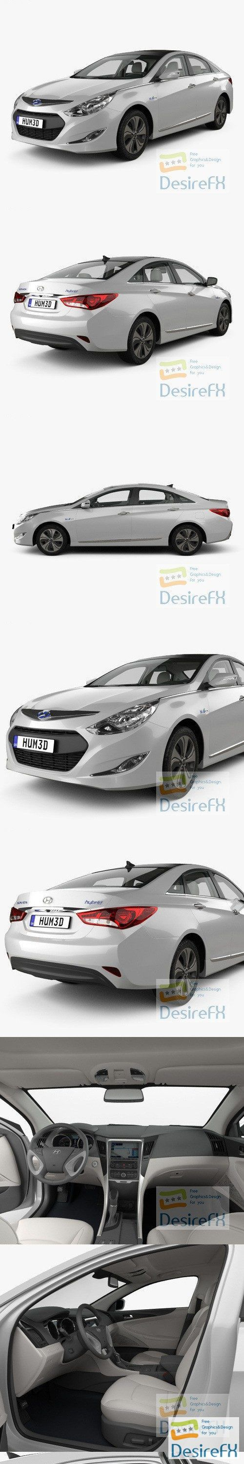 Hyundai Sonata hybrid with HQ interior 2015 3D Model