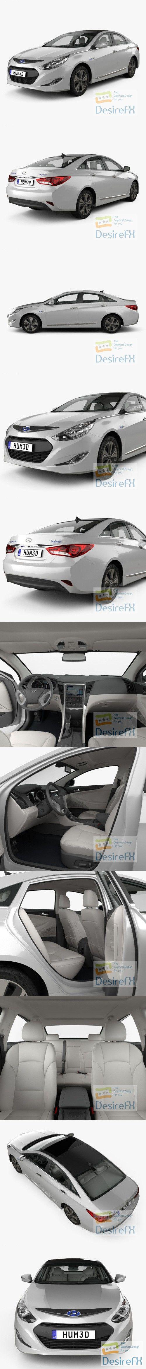 Hyundai Sonata hybrid with HQ interior 2015 3D Model