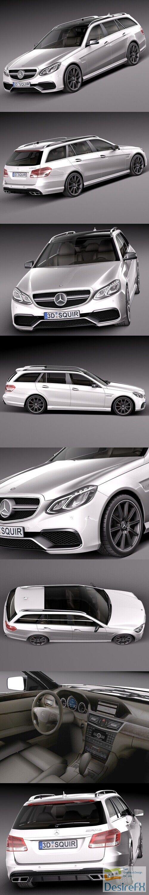 Mercedes-Benz E63 AMG Estate 2014 3D Model