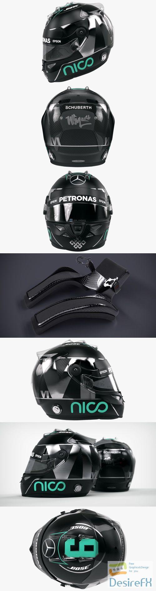Nico Rosberg 2016 style Racing helmet 3D Model