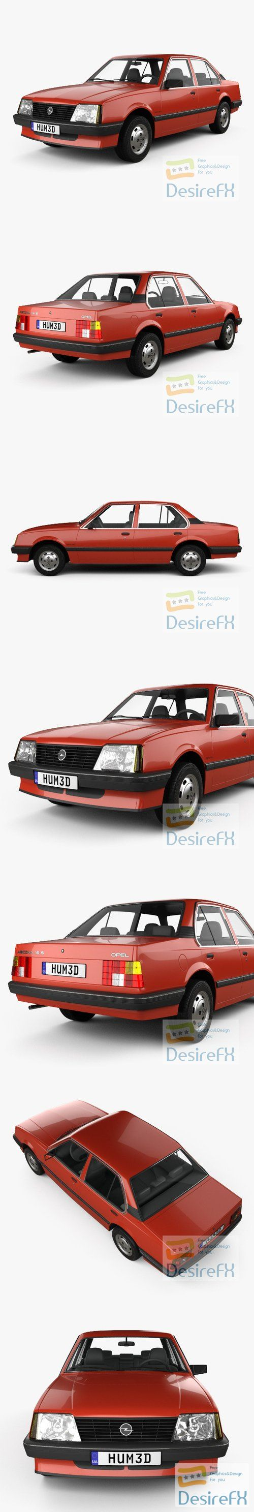 Opel Ascona sedan 1981 3D Model