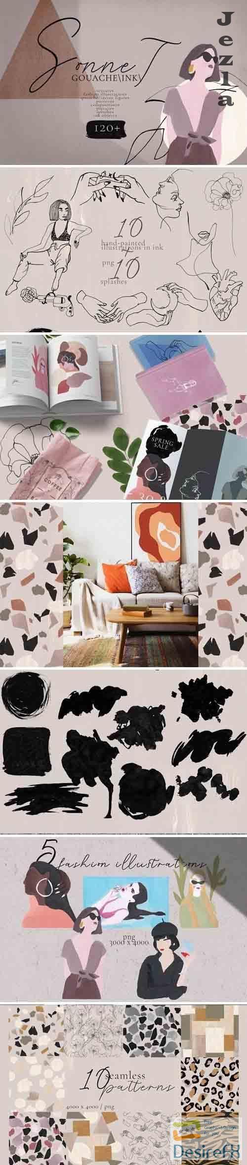 Sonnet - abstract gouache/ink art - 3688099