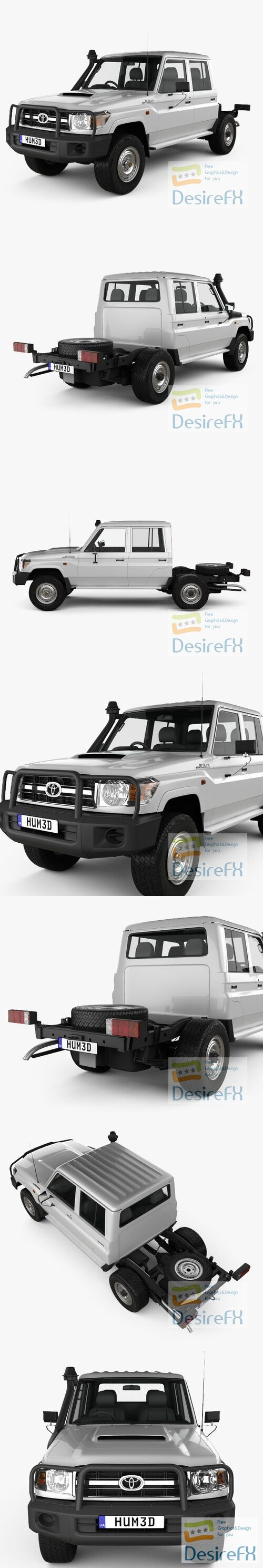 Toyota Land Cruiser Double Cab Chassis 2012 3D Model