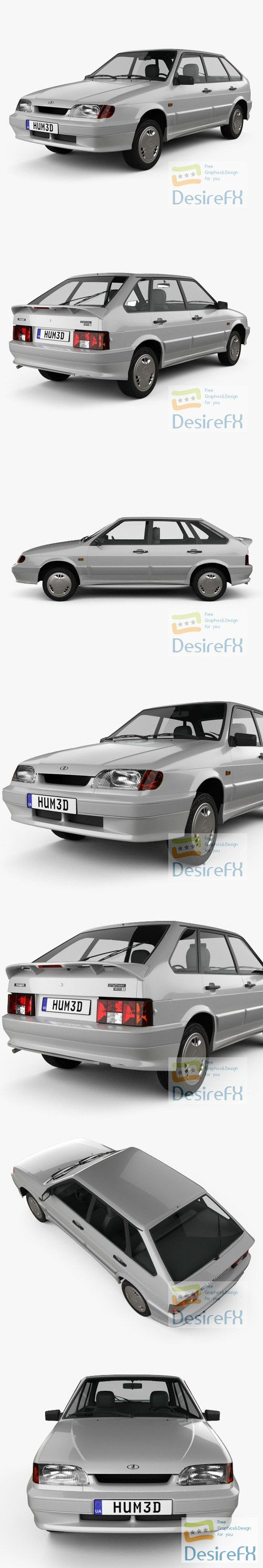 VAZ Lada Samara 2114 hatchback 5-door 1997 3D Model