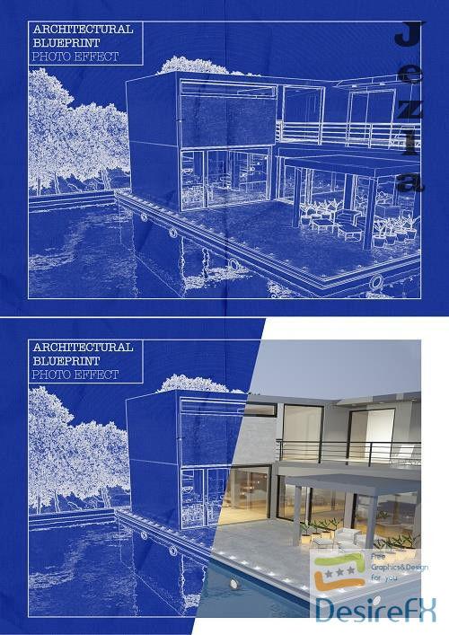 Blueprint Photo Effect Mockup 375653475