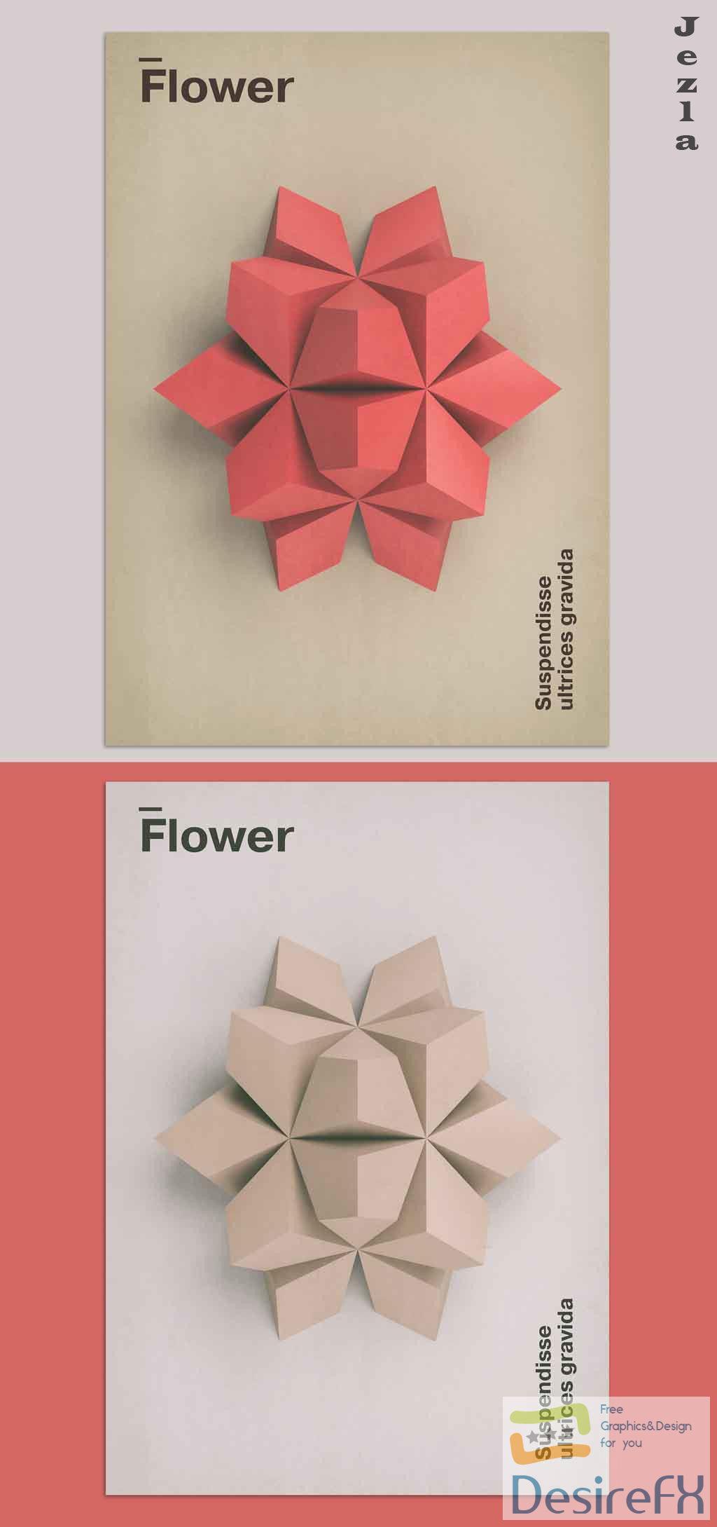 3D Flower Art Poster Layout 375927533