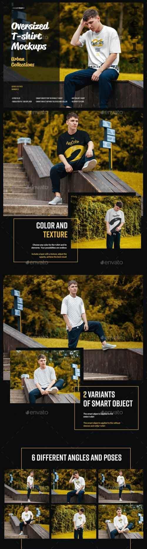 6 Oversized T-shirt Mockup Urban Style 28713242