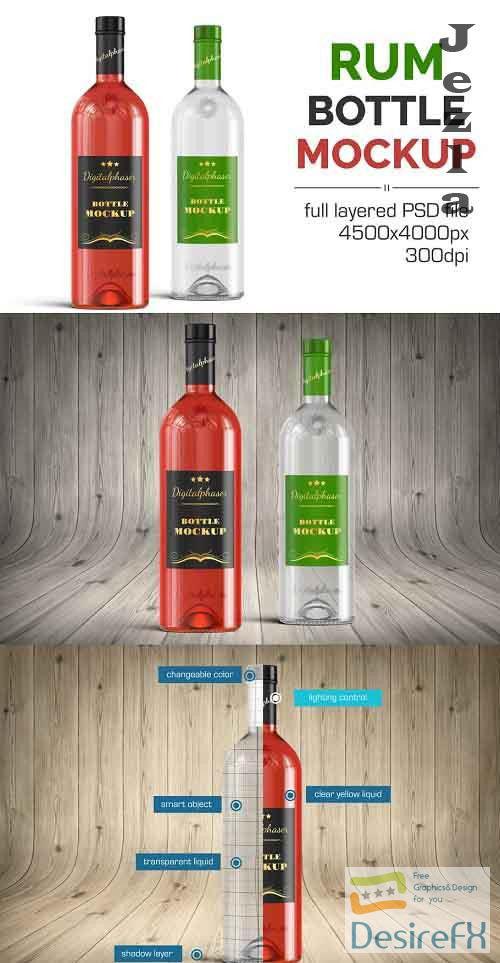Clear Rum Brandy Vodka Bottle Mockup 4536211