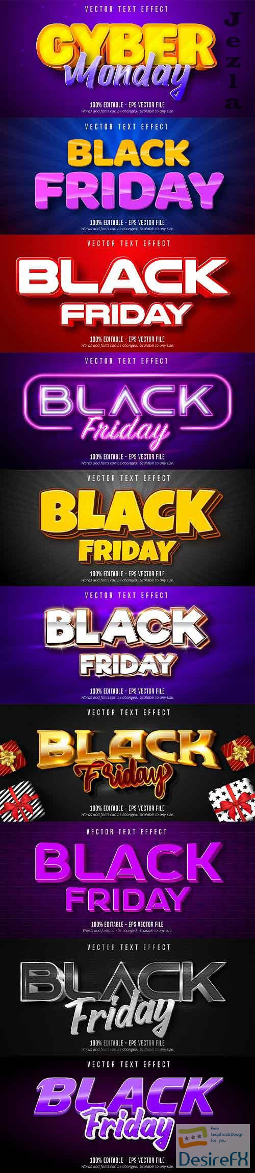 Editable font effect text collection illustration design 205 - Black Friday Text