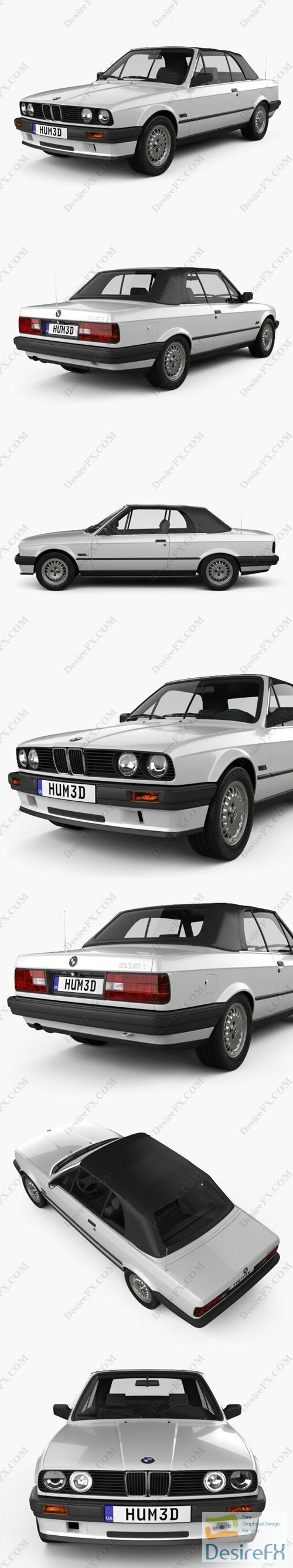 BMW 3 Series convertible 1990 3D Model