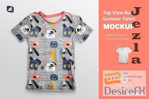 Top view Boy's Summer Tshirt Mockup 4737638