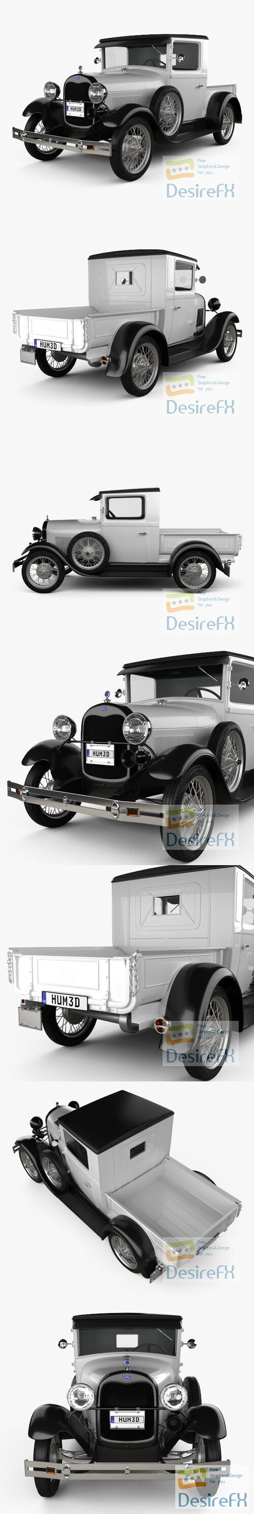Ford Model A Pickup Closed Cab 1928 3D Model