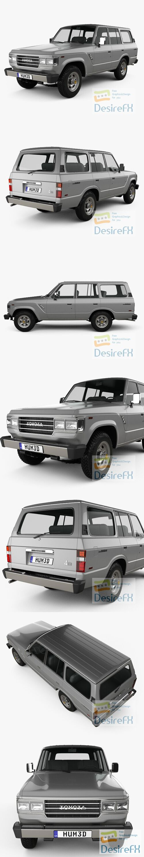 Toyota Land Cruiser US 1987 3D Model